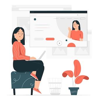 Online page concept illustration