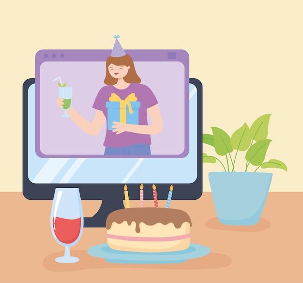 オンラインパーティー、誕生日のお祝いのコンピューターケーキと飲み物
