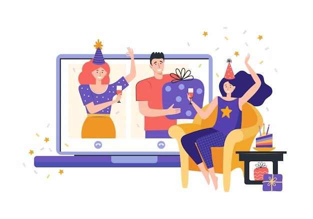Онлайн вечеринка, день рождения, встреча друзей. общайтесь с друзьями онлайн. люди вместе пьют вино в карантине. девушка сидит перед ноутбуком общается через видео-чат. проведите время дома.