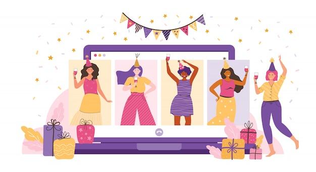 Онлайн вечеринка, день рождения, встреча друзей. друзья общаются через видеочат. женщины веселятся, смеются, разговаривают и пьют вино. онлайн чат с помощью видео приложения. веселое время дома. плоская иллюстрация.