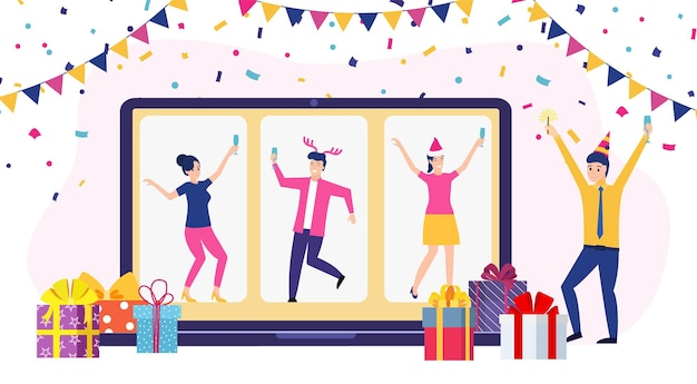 Интернет-вечеринка, день рождения, встреча с друзьями.