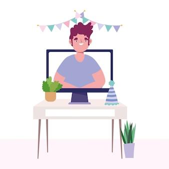 Онлайн вечеринка, день рождения или встреча друзей, компьютерный человек на экране празднования шляпа вымпелы украшения