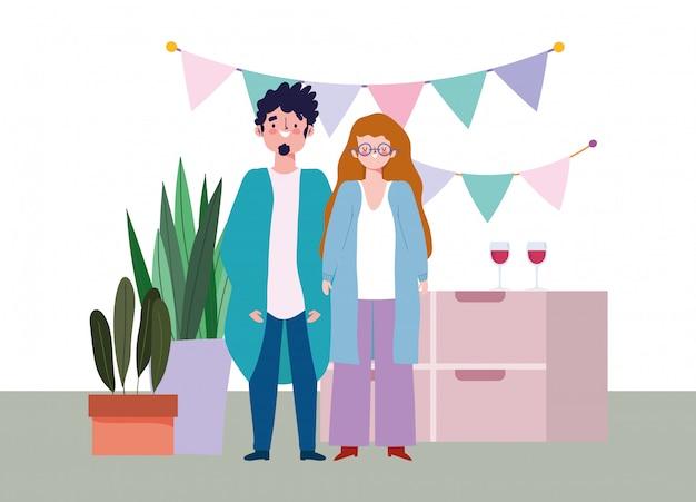 Онлайн вечеринка, день рождения или встреча друзей, мужчина и женщина в домашней шляпе вымпелы украшения праздничная иллюстрация