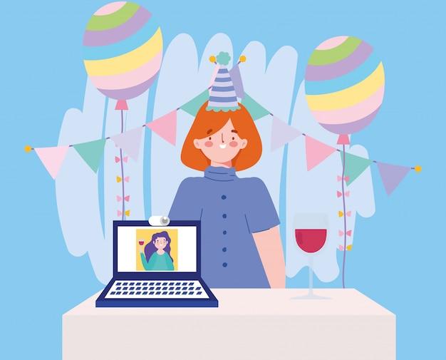 Онлайн-вечеринка, день рождения или встреча с друзьями, женщина в шляпе, украшения воздушные шары, ноутбук, девушка на экране иллюстрации