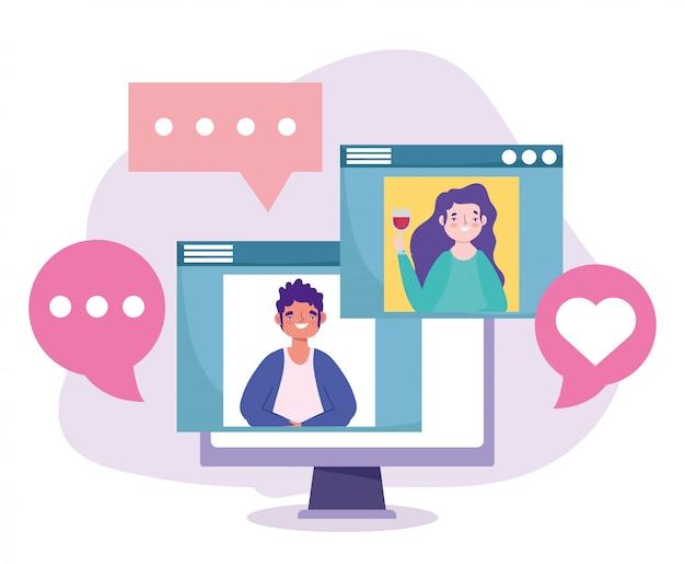 オンラインパーティー、誕生日や会議の友人、ワインを持つ女性とお祝いイラストを話しているウェブサイトの男