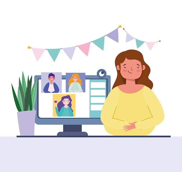 オンラインパーティー、誕生日や会議の友達、コンピューターのwebカメラを持つ若い女性と人々のお祝い