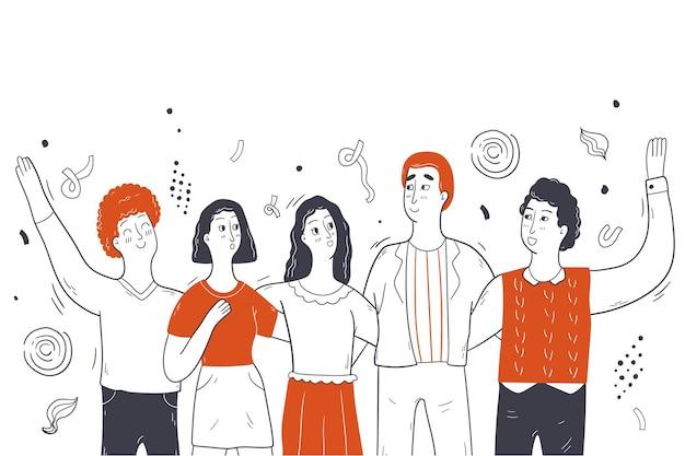 オンラインパーティーのお祝い、友情、社会的距離の概念図
