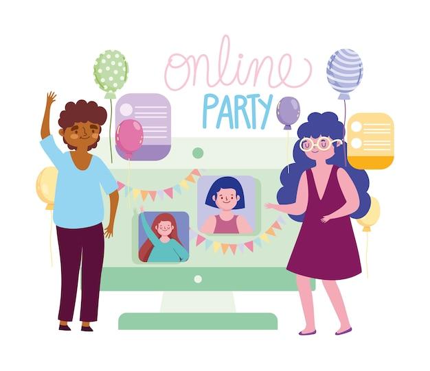 Интернет-вечеринка, пара празднует с друзьями через интернет