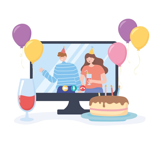 Online party, couple with hat drink and cake celebration birthday