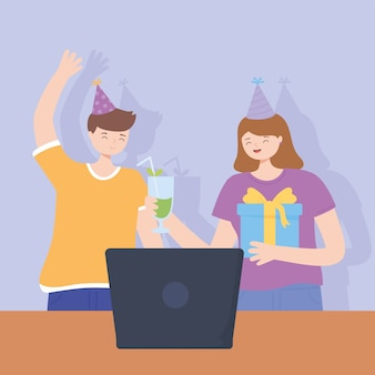 Online party, girl with cocktail gift and boy with laptop celebration vector illustration