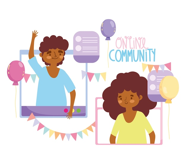 Интернет-вечеринка, праздник счастливой пары, подключенный к интернету