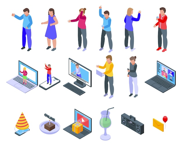 Набор иконок онлайн партии. изометрические набор векторных иконок онлайн-вечеринки для веб-дизайна на белом фоне