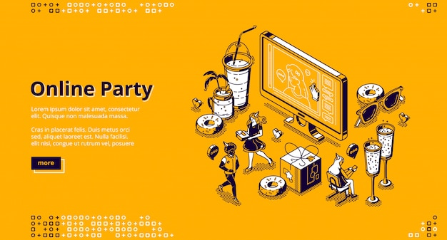 Online party isometric landing page, celebration