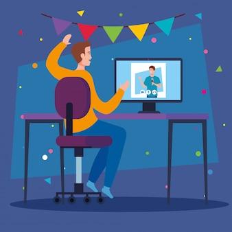 オンラインパーティー、会議の友達、男性が一緒に隔離されたオンラインパーティー