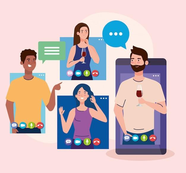 온라인 파티, 친구 사귀기, 사람들은 격리, 화상 회의, 파티 웹 카메라 온라인 휴가에서 함께 온라인 파티를합니다.