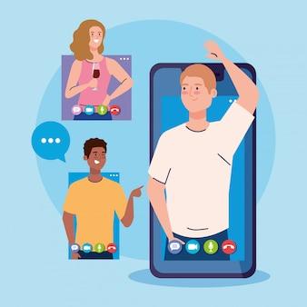 オンラインパーティー、会議の友達、人々が一緒に検疫、ビデオ会議、パーティーwebカメラのオンライン休暇中にオンラインパーティーを開催