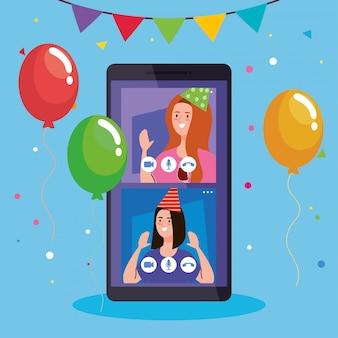 オンラインパーティー、友人との出会い、女性がスマートフォンで隔離されたオンラインパーティーを一緒に持っている
