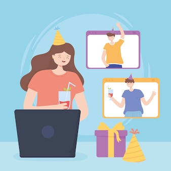 Интернет-вечеринка, празднование дня рождения людей во время карантина