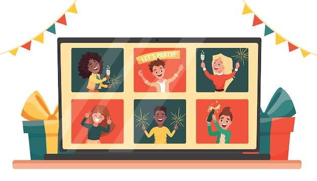 友達とのビデオ通話を介して祝うオンラインパーティー仮想新年の人々は、オンラインで会います。漫画フラットイラスト。