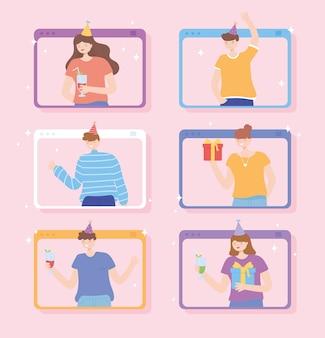 온라인 파티, 선물 및 음료 벡터 일러스트와 함께 축하하는 사람들과 웹 사이트