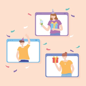 Online party, website with people celebrating with gifts and drinks vector illustration