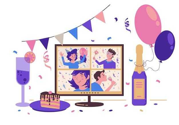 友達とのオンラインパーティー。インターネットで誕生日、クリスマス、新年を祝います。モニター付きのお祭りテーブル。