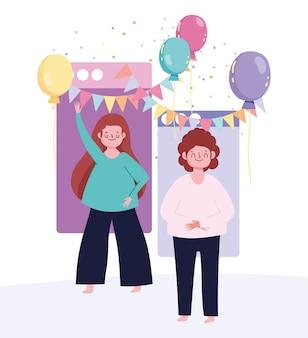 オンラインパーティー、若者がつながるウェブサイトイベントミーティングのお祝い