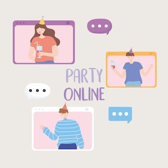 Online party, young people talk bubble characters vector illustration