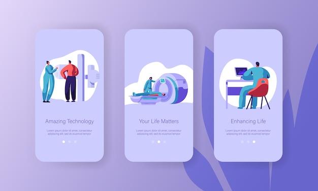 Набор встроенных экранов мобильной страницы мобильного приложения для диагностики пациентов с помощью мрт. технологии здравоохранения. доктор исследует человека на веб-сайте или веб-странице современного медицинского оборудования. плоский мультфильм векторные иллюстрации