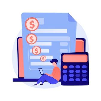 Счет онлайн-платежей. данные кредитной карты, личная информация, финансовая операция. работник банка мультипликационный персонаж. интернет-банкинг.