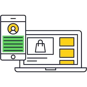 온라인 결제 및 거래 앱 벡터 아이콘입니다. 인터넷 일러스트레이션에서 쇼핑하기 위한 노트북 및 스마트폰 응용 프로그램입니다. 주문 및 구매를 위한 디지털 기술
