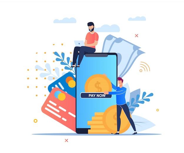 Online payment cartoon flat.