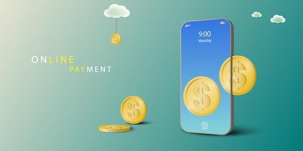 온라인 결제 개념. 동전은 휴대폰에 삽입합니다. 모바일 결제 관점.