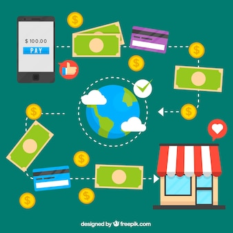 Online payment concept, icons on a green background