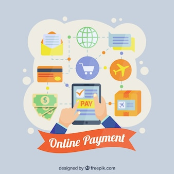 Online payment concept, icons