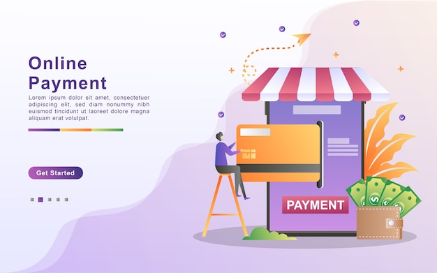 Online payment concept   illustration. mobile payment or money transfer concept. e-commerce market shopping online illustration with tiny people character.