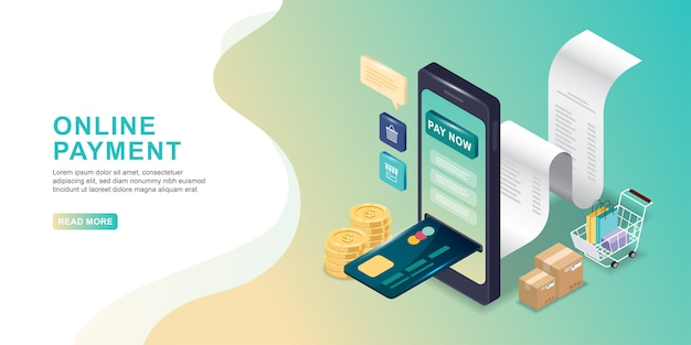 Online payment concept. mobile payment or money transfer with smartphone isometric. e-commerce market shopping online.