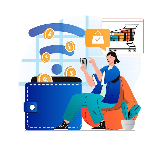 Online payment concept in modern flat design woman paying for purchases in mobile