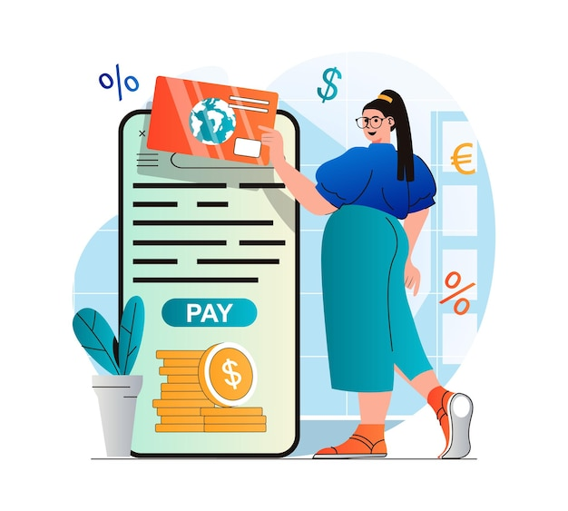 Online payment concept in modern flat design woman paying for purchases with credit card