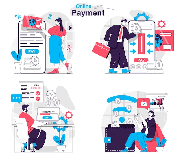 Online payment concept set customers pay for purchases and make transactions