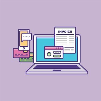 Иллюстрация вектора концепции онлайн-платежей ноутбук с электронным счетом финансовые операции