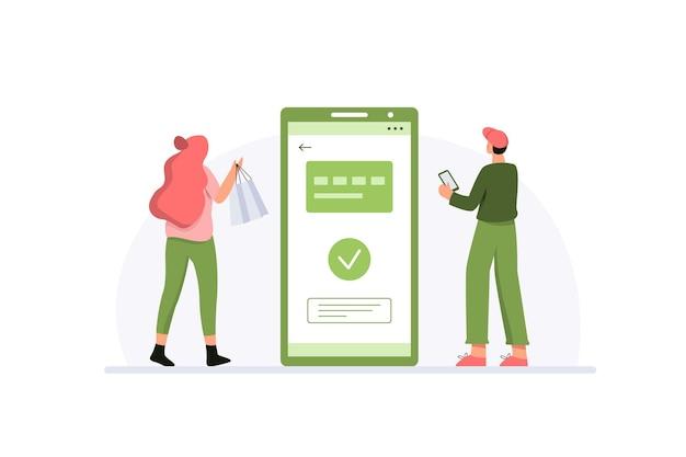 Концепция онлайн-платежей с парой, успешно совершившей транзакцию после покупок Premium векторы