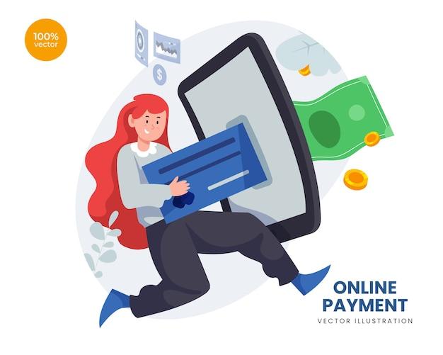 カードデジタルでインターネット上で女性が送金するオンライン支払いの概念