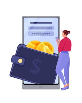 Online payment and digital wallet with woman logging into finance app, coins, smartphone.