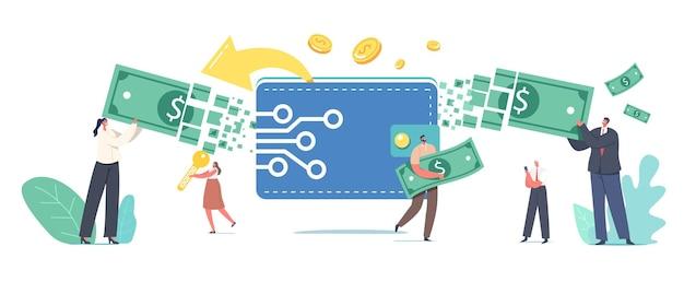 온라인 지불, 전자 가상 거래 개념. 작은 남성과 여성 캐릭터는 디지털 지갑을 통해 돈을 이체합니다. 현금 없는 지불 플랫폼 또는 애플리케이션. 만화 사람들 벡터 일러스트 레이 션