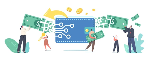 Online payment, electronic virtual transaction concept. tiny male and female characters transfer money via digital wallet. cashless paying platform or application. cartoon people vector illustration