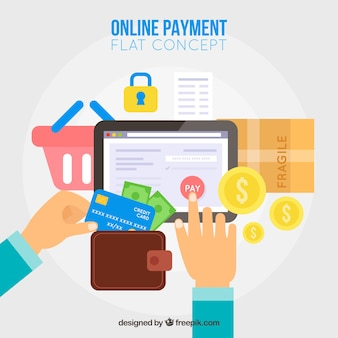 Online payment, flat-style elements