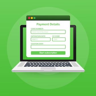Форма оплаты онлайн. онлайн цифровой счет на шаблоне ноутбука