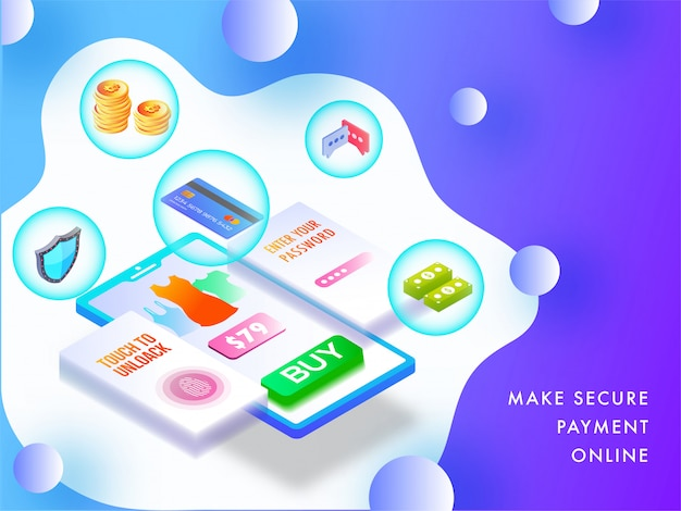 Online payment from app concept.