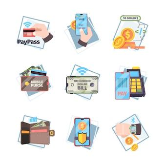 온라인 결제 아이콘입니다. nfc 혁신적인 모바일 거래 인터넷 뱅킹 카드 돈 벡터 개념 평면 그림. 일러스트 비접촉 송금, 결제 처리 거래